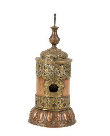 COPPER AND BRASS TEMPLE PRAYER WHEEL (MANI), 19TH CENTURY