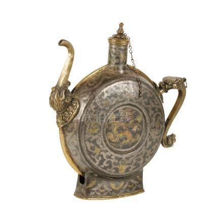 RARE GOLD, SILVER, AND COPPER DAMASCENED WINE FLASK