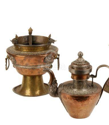 COPPER, BRASS AND SILVER TEAPOT AND BRAZIER, TIBET, 19TH CENTURY