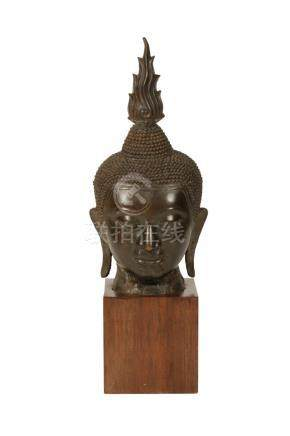 LARGE BRONZE BUDDHA HEAD, THAILAND, 19TH CENTURY