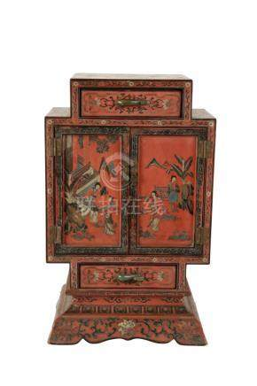 RED LACQUER CABINET, QING DYNASTY 19TH CENTURY
