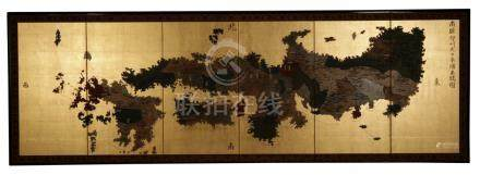 FINE GILT SIX FOLD SCREEN, MEIJI PERIOD (1868-1912)