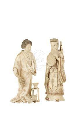 TWO CARVED IVORY OKIMONO'S, MEIJI PERIOD (1868-1912)