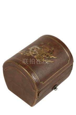 UNUSUAL LEATHER AND GILT LACQUER BOX, MEIJI PERIOD (1868-1912)
