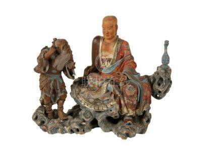 FINE CARVED WOOD AND LACQUER FIGURE GROUP
