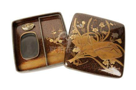 FINE GILT LACQUER SILVER MOUNTED WRITING BOX, MEIJI PERIOD (1868-1912)
