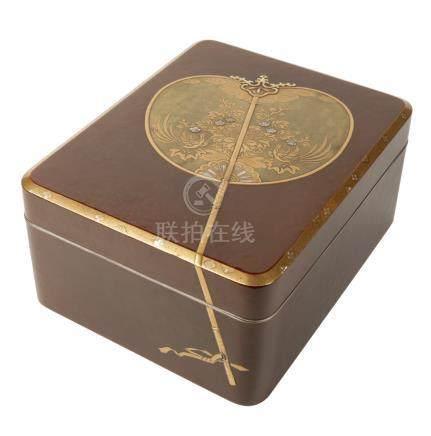 FINE SILVER MOUNTED LACQUER BOX, MEIJI PERIOD (1868-1912)