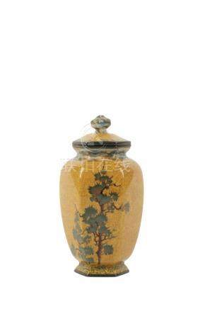 FINE SILVER WIRE YELLOW-GROUND COVERED VASE