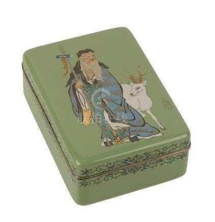 FINE CLOISONNE GREEN-GROUND BOX, MEIJI PERIOD (1868-1912)