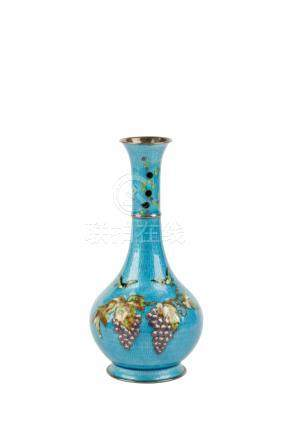 SMALL SILVER AND ENAMEL VASE, MEIJI PERIOD (1868-1912)