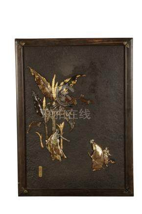 BRONZE AND MIXED METAL PLAQUE BY FUKUDA MICHIHARU ZO