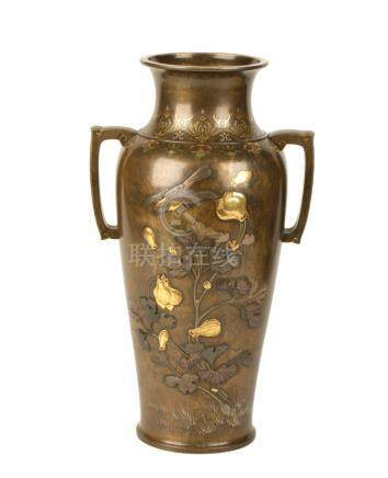 FINE BRONZE AND MIXED METAL VASE, BY UNNO SHOMIN, MEIJI PERIOD (1868-1912)