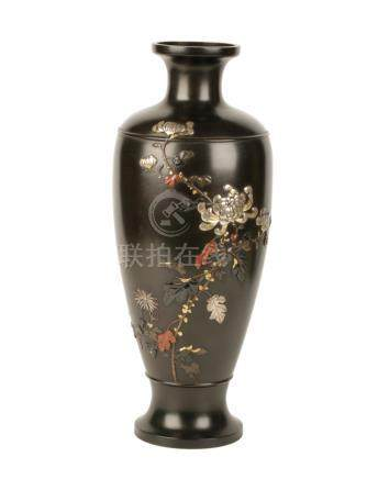 FINE BRONZE AND MIXED METAL VASE, SIGNED BY DAI NIMON KYOTO KUNA, MEIJI PERIOD (1868-1912)