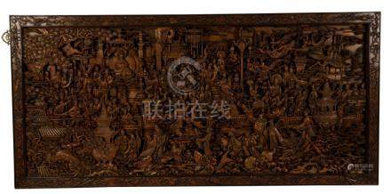 FINE AND LARGE CARVED HARDWOOD PANEL, INDONESIAN, 20TH CENTURY