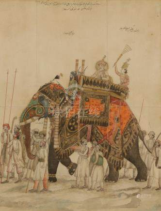 AKBAR II ON AN ELEPHANT, INDIA 19TH CENTURY