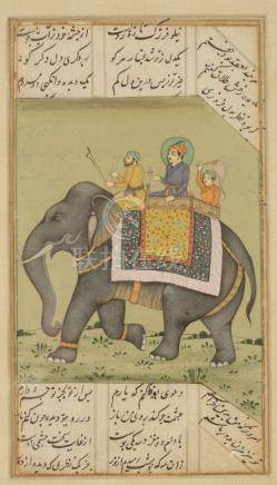 PRINCE RIDING AN ELEPHANT, INDIA, 18TH / 19TH CENTURY