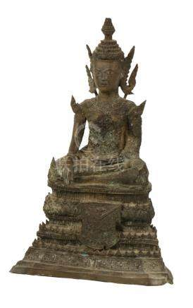 BRONZE FIGURE OF A SEATED BUDDHA, THAILAND