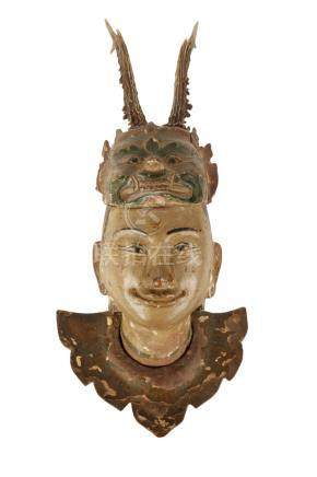 CARVED POLYCHROME PAINTED NAT MASK, BURMESE, LATE 19TH CENTURY,