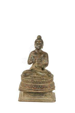 SMALL BRONZE FIGURE OF A BUDDHA, GANDORAN, 7TH CENTURY OR EARLIER
