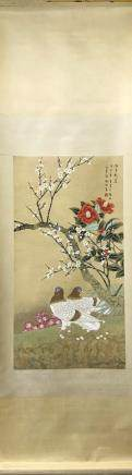 A YU JI GAO  FINE BRUSHWORK FLOWERS AND BIRDS