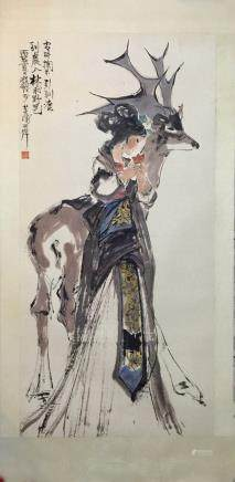 A CHENG SHI FA PAINTING 《REINDEER FIGURE》