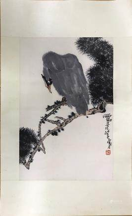 "A PAN TIAN SHOU ""PINES AND EAGLES"" PAINTING"