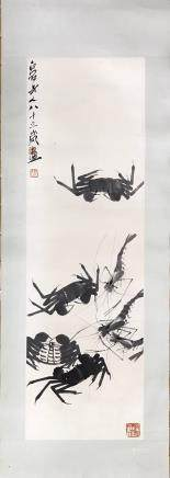 "A QI BAI SHI ""SHRIMP AND CRAB"" PAINTING"