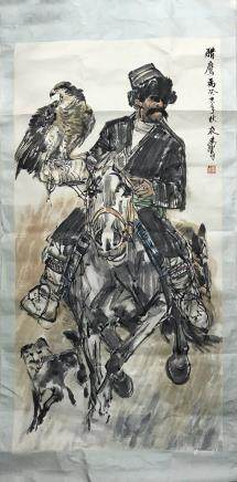 "A HUANG ZHOU ""FALCON""IN 1983 PAINTING"