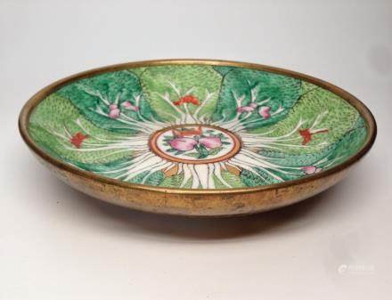 A COPPER CLAD CANTON ENAMEL DRAWING PLATE