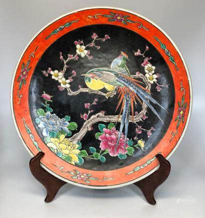 A POWDER BLACK GROUND BIRD AND PEONY DESIGN PLATE