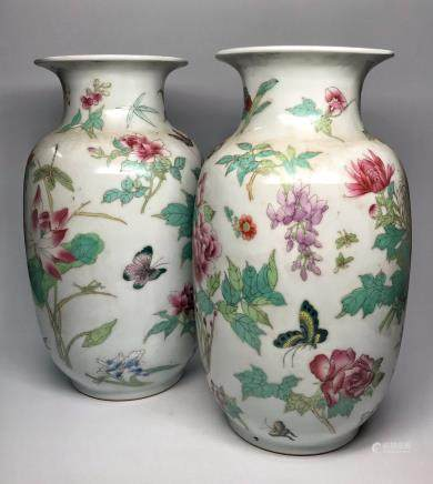 A PAIR OF  POWER ENAMEL CHRYSANTHENMUM PEONY BUTTERFLY DESIGN VASE