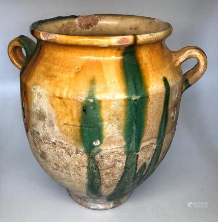 A TANG TRI-COLOR GLAZED CERAMICS DOUBLE STYLE JAR