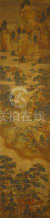 ANONYMOUS Hu'er Mountain ink and colour on silk, hanging scroll 166.5 x 39.5cm. 佚名 呼兒山 設色絹本 立軸