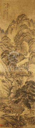 WANG YU (attributed to, 1714 – 1748) Landscape ink and colour on paper, hanging scroll signed