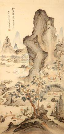 TANG HUI (attributed to) Watery Landscape. ink and colour on paper, hanging scroll signed Baixia