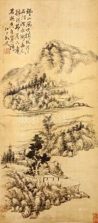 DA CHONGGUANG (follower of, 1623 – 1692) Landscape ink on paper, hanging scroll signed