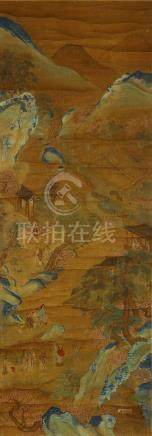 ANONYMOUS Landscape ink and colour on silk, hanging scroll 123 x 43cm. 佚名   山石人物圖 設色絹本   立軸