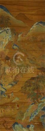 ANONYMOUS Landscape ink and colour on silk, hanging scroll 123 x 43cm. 佚名 山石人物圖 設色絹本 立軸