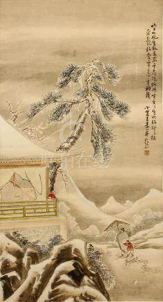 WANG SU (follower of, 1794 – 1877) Snowy Landscape ink and colour on paper, hanging scroll