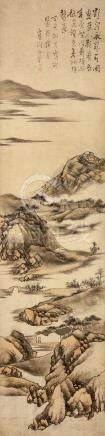 GAO JIAN   (attributed to, 1634–1707) Landscape ink and colour on paper, hanging scroll signed Jian,