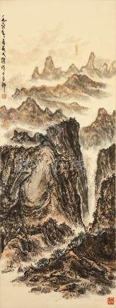 ZOU DAYA (attributed to, 1916 – 1974) Landscape ink and colour on paper, hanging scroll signed