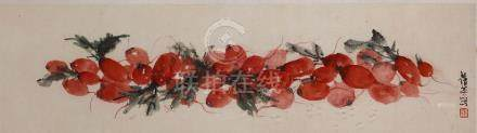 ZHANG QIANYING   (1909 – 2003) Radishes ink and colour on paper, framed signed Qianying, with one