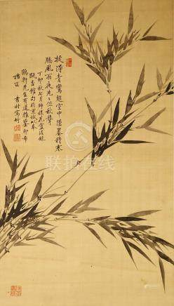 ZHAO SHUNCUN Flowers and Birds ink on silk, hangin