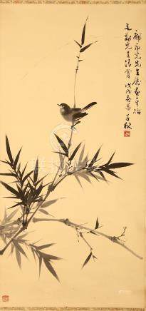 ZHOU QIANQIU   (1910 - 2006) LIANG CANYING   (1921 - 2005) Bird and Flowers ink on paper, hanging