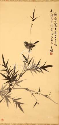 ZHOU QIANQIU (1910 - 2006) LIANG CANYING (1921 - 2005) Bird and Flowers ink on paper, hanging