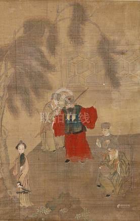 ANONYMOUS Literary Scenes ink and colour on silk, three hanging scrolls 54.5 x 35cm. (3) 佚名 人物園景圖三幅