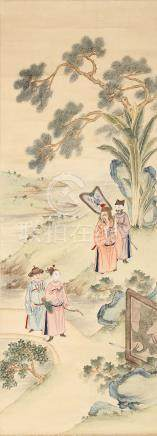 ANONYMOUS Literary Scenes ink and colour on paper, four hanging scrolls 92 x 33.5cm. (4) 佚名