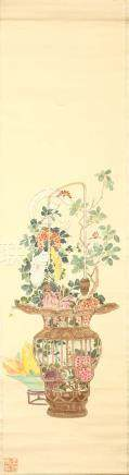 WANG ZHIGUAN Flower baskets ink and colour on paper, four hanging scrolls 109 x 28.5cm. (4) 王枝官