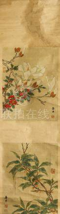 YUN SHOUPING   (follower of, 1633 – 1690) Birds and Flowers ink and colour on paper, eight album
