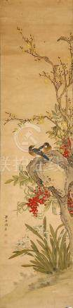 ZHOU YUSHI Birds and Flowers ink and colour on paper, ten hanging scrolls 128 x 30cm. (10) 周漁石   花鳥圖